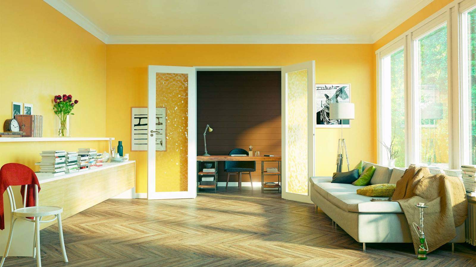 Living room painted in yellow.