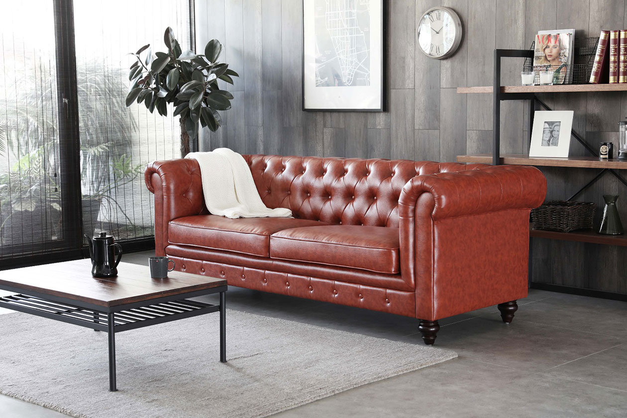 Hugo Vintage Brown Chesterfield Sofa by BedandBasics.sg