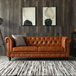 Distressed Brown Leather Chesterfield Sofa