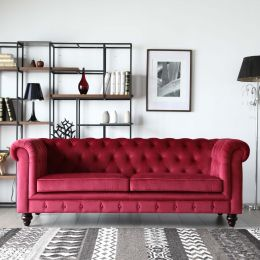Red Velvet Chesterfield Sofa