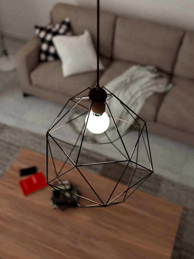 Home decor: top view of pendant ceiling light and coffee table.