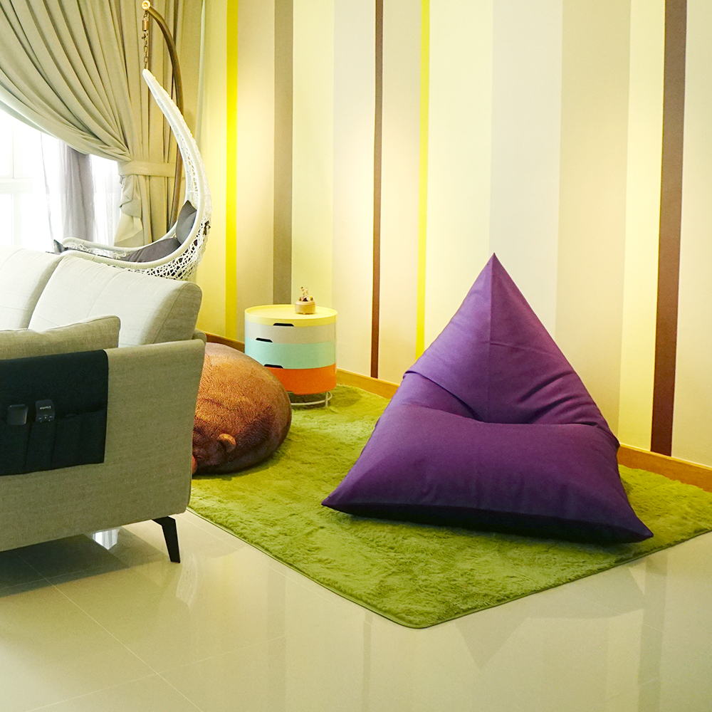 For cosy corners, opt for home decor like beanbags. Living room with Platoopat Lounger Beanbag.