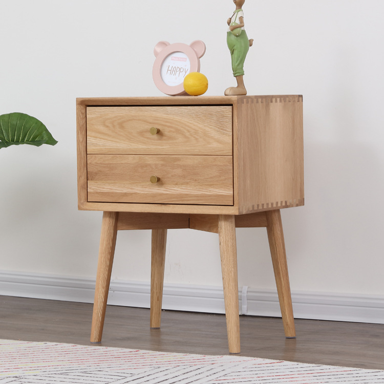 Nara American Oak Wood Side Table II has thin legs, great for small bed room.