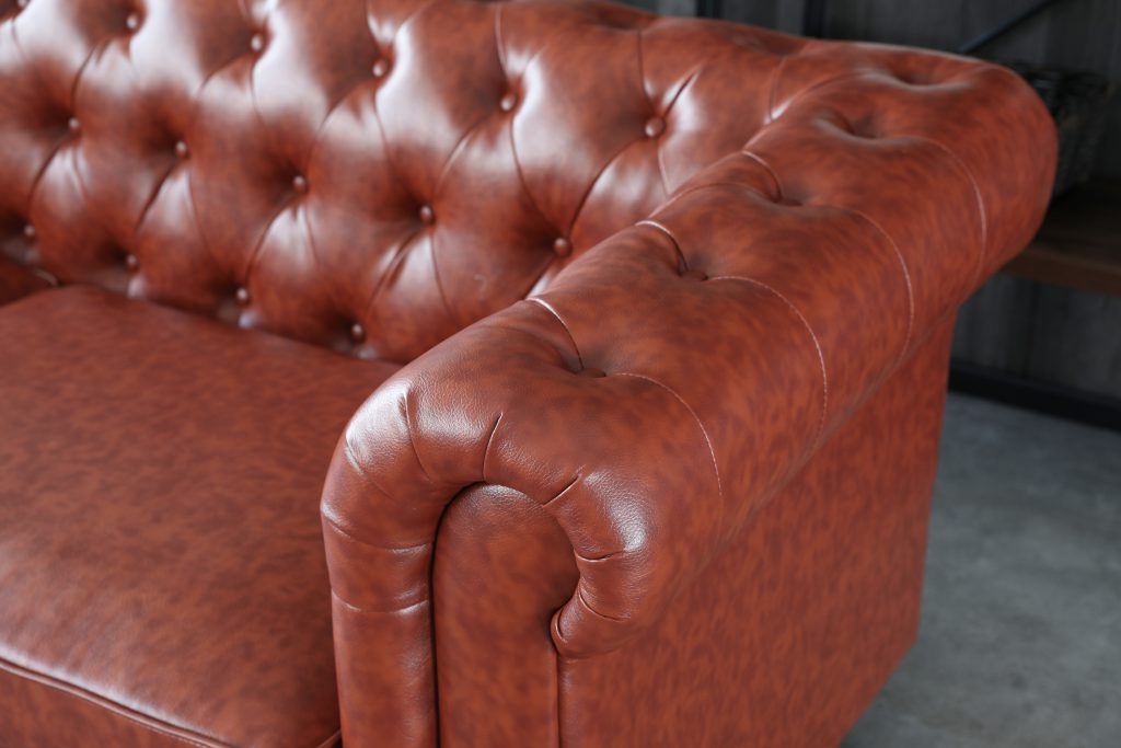 Hugo 3 Seater Chesterfield Sofa in Vintage Brown Leather.