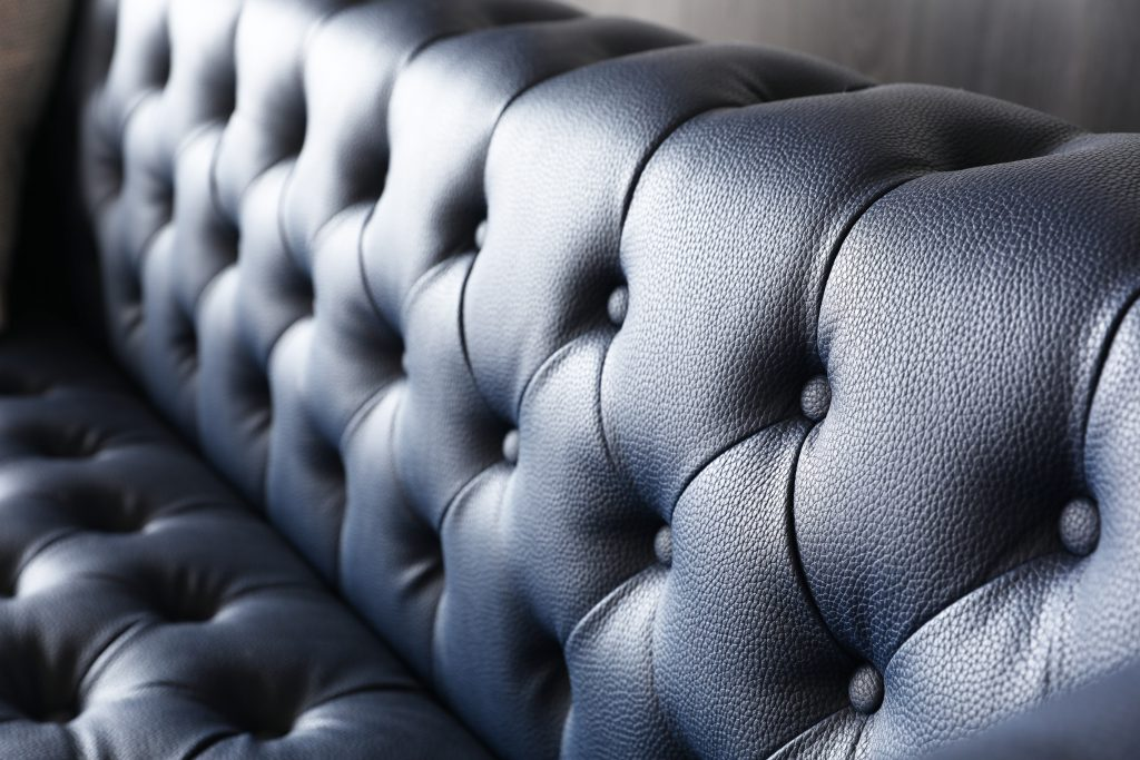 Leo Chesterfield 3 Seater Sofa in Presidential Blue Leather.